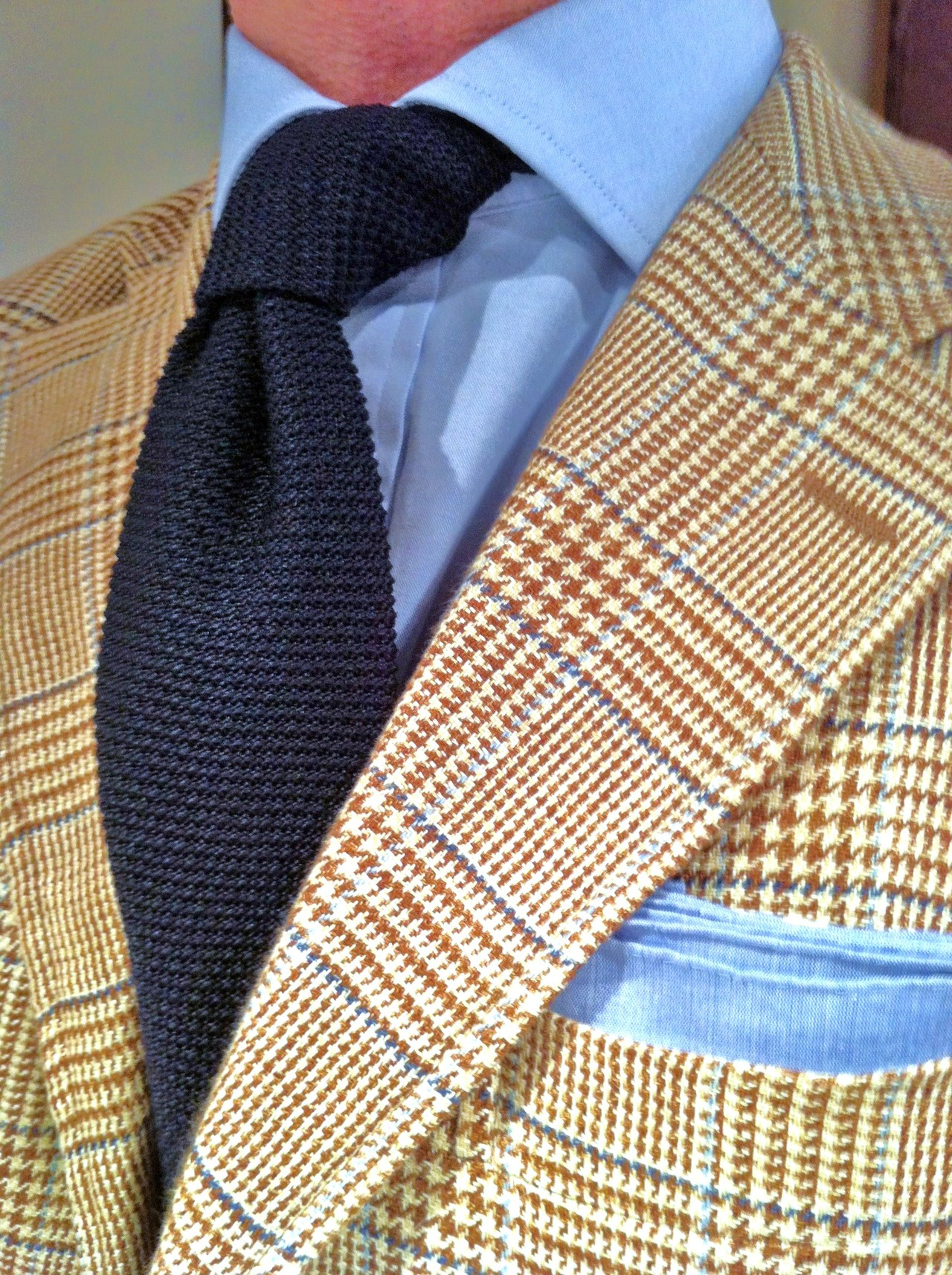 Amazing Ocher Blue Glen Plaid Sport Coat Knitted Tie Collar Shirt Unbelievable Soletopia