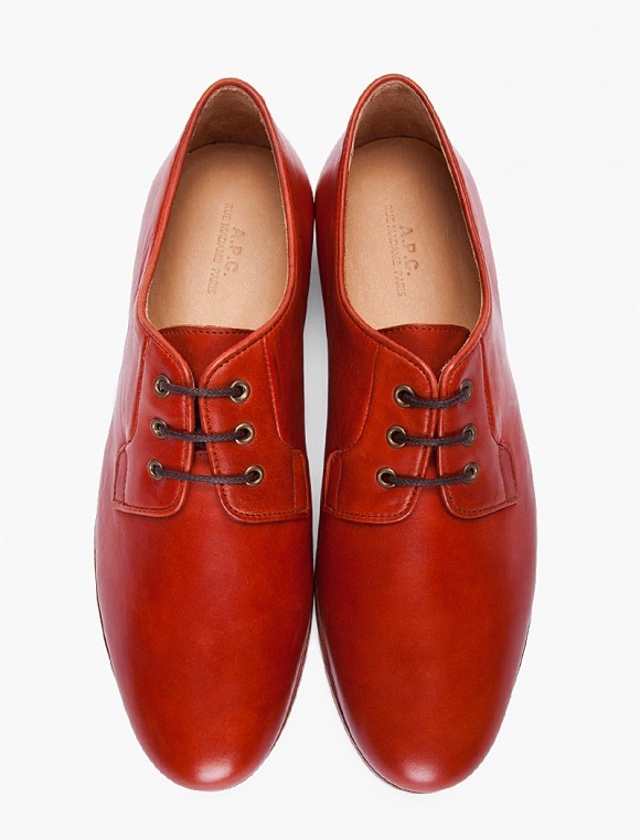 A.P.C brick red derby dress shoes, simple, clean & red