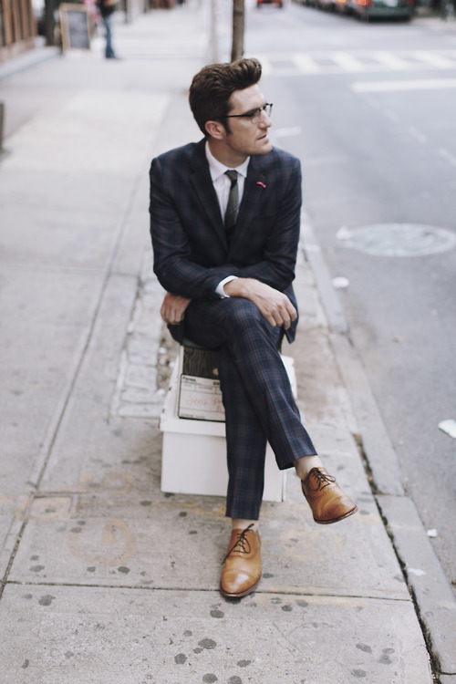 Blanket plaid suit with Grenson cap toe shoes
