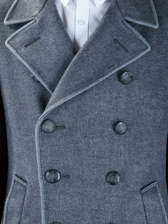 Boglioli double breasted gray wool coat, notched lapel, welt pocket & nautical buttons