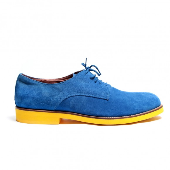 Del Toro Cobalt Suede Oxford with Yellow sole, blue suede shoes