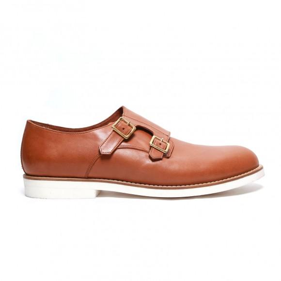Del Toro cognac 'napa leather monkstrap' contrast sole