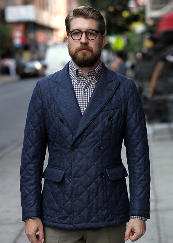 Formal Casual double breasted peaked lapel & quilted jacket...SICK!