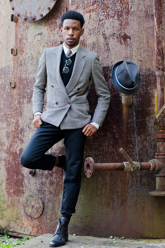 glen-plaid-pattern-jacket-with-cuffed-dress-pants