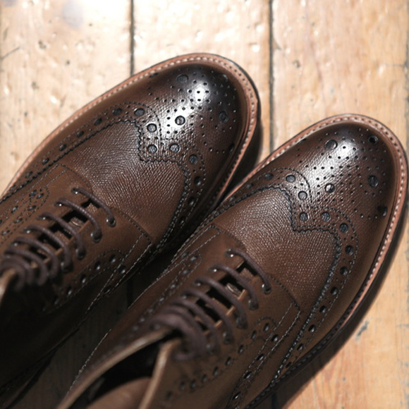 Grenson 'Fred' textured-leather brogue boots, commando sole