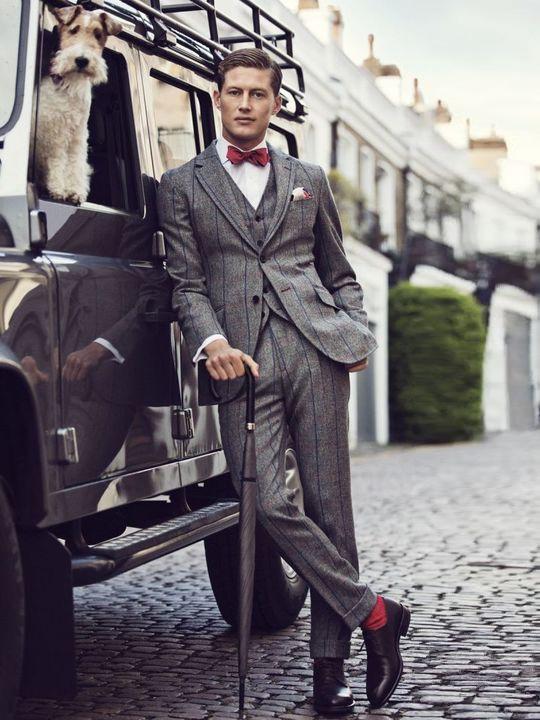 Hackett, dress like a gentleman in brick red socks, bowtie and pinstripe