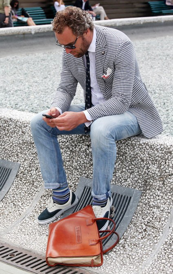 White Sneakers with Cuffed Jeans Men