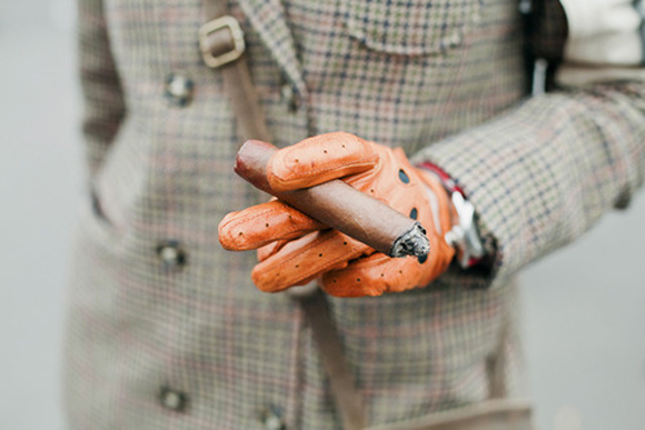 Leather Gloves & Cigar