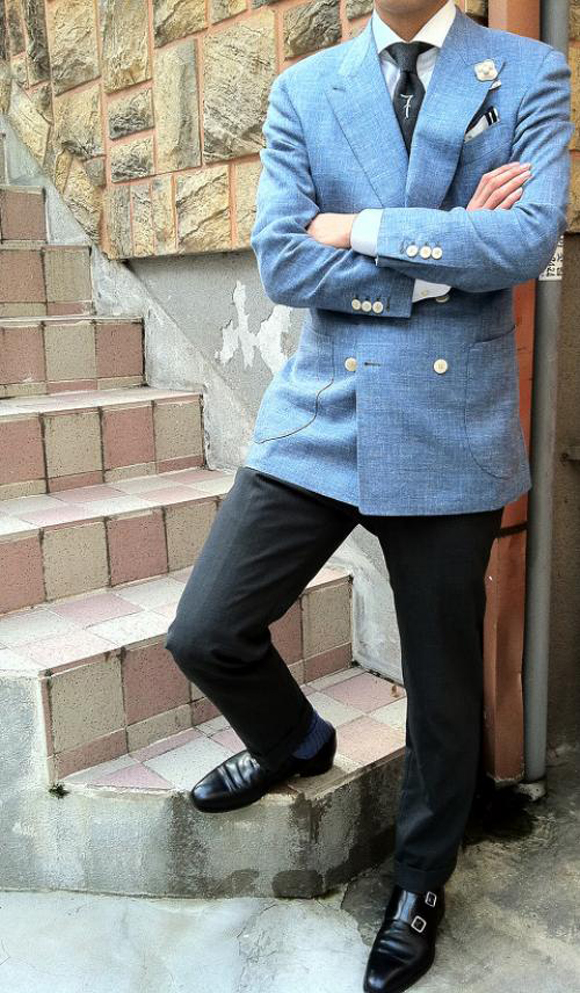 Lucky 7 tie, white on blue blazer sport coat
