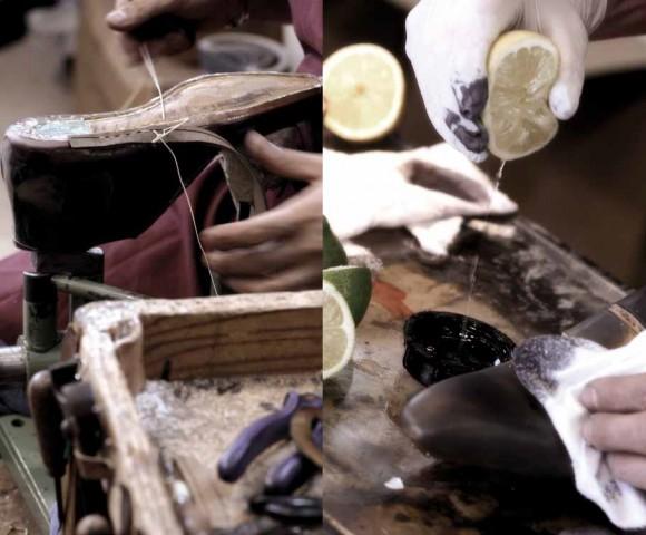 Making shoes, Kiton - use a lemon to make a dress shoe