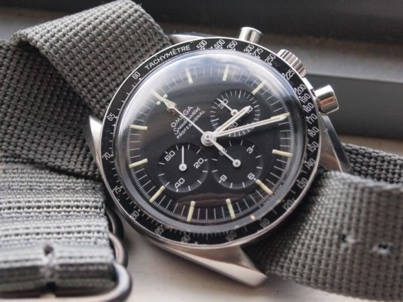 Omega Speedmaster with Nato Military Green watch strap, nearly vintage