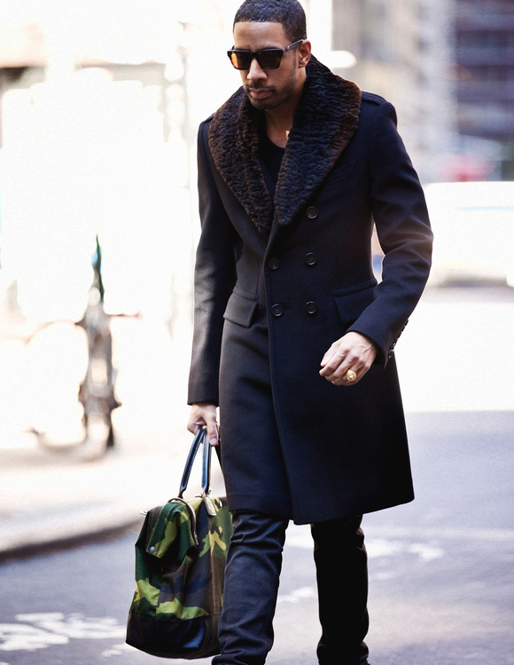 Ryan Leslie shows off Bane SWAG with Shearling Topcoat