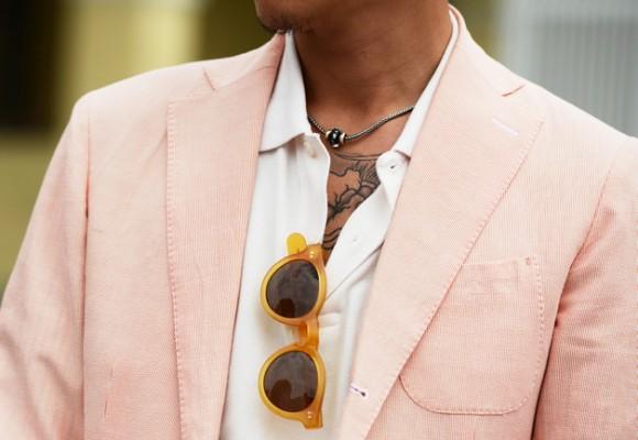 salmon-sport-coat-orange-framed-polo-shirt-sunglasses-yakuza-chest-tattoo