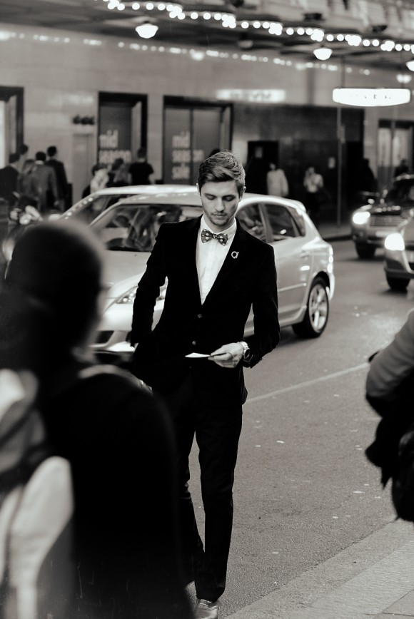 Sharp look, polka dot bowtie, suit and cole haan air colton