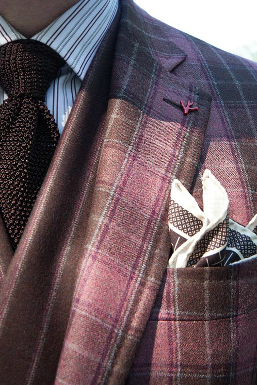 tartan-suit-coat-four-in-a-hand-tie-pocekt-square-italian