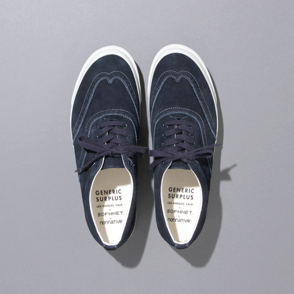wingtip sneakers with white soles in navy by Generic Surplus, SOPHNET x nonnative