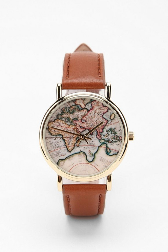 world-map-on-face-of-Urban-Outfitters-Globe-Leather-Watch-Brown