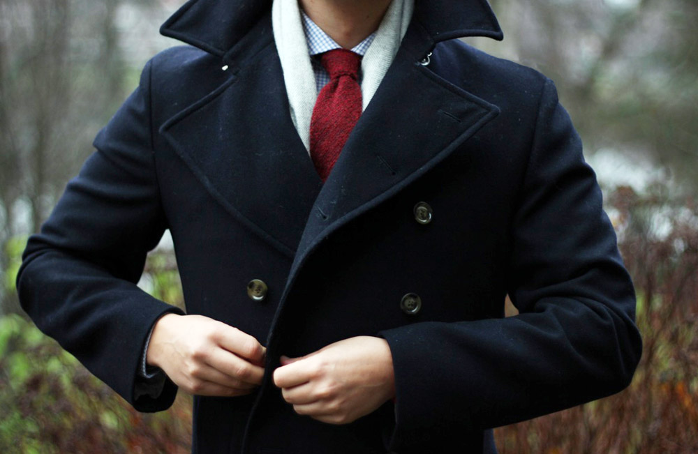Beautiful pea coat with large lapel   wool tie & scarf | SOLETOPIA