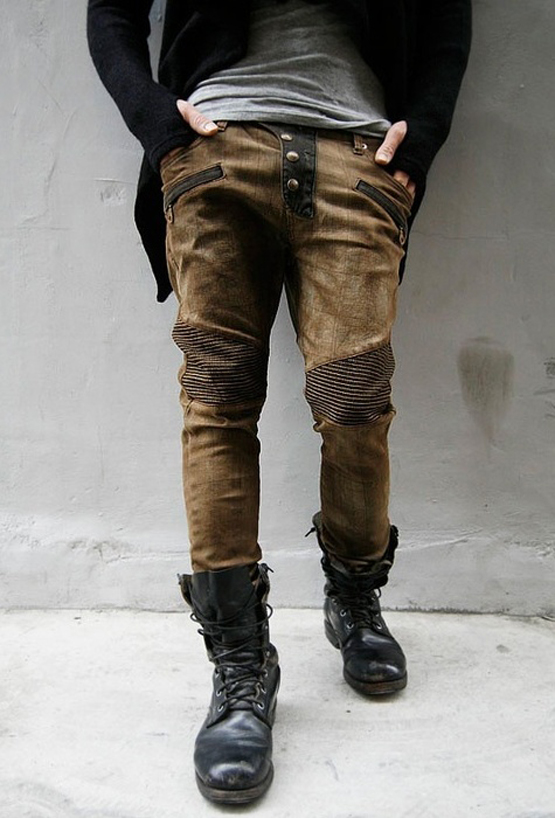 Commando Men In Jeans http://www.soletopia.com/2012/11/easy-laced-black-commando-boots-patched-frankenstein-jeans/