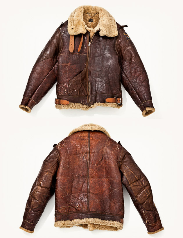 Distressed Leather Shearling bomber pilots jacket