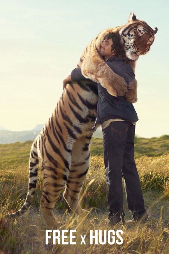 Tiger hugs man