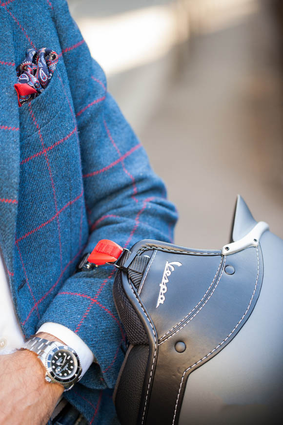 holland-and-sherry-windowpane-blazer-paisley-pocket-square-rolex-submariner-blue-and-red