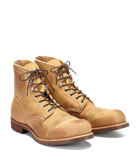Mule Skinner Red Wing Iron Ranger '8113' tan, light color leather, cap toe boots, with sick soles