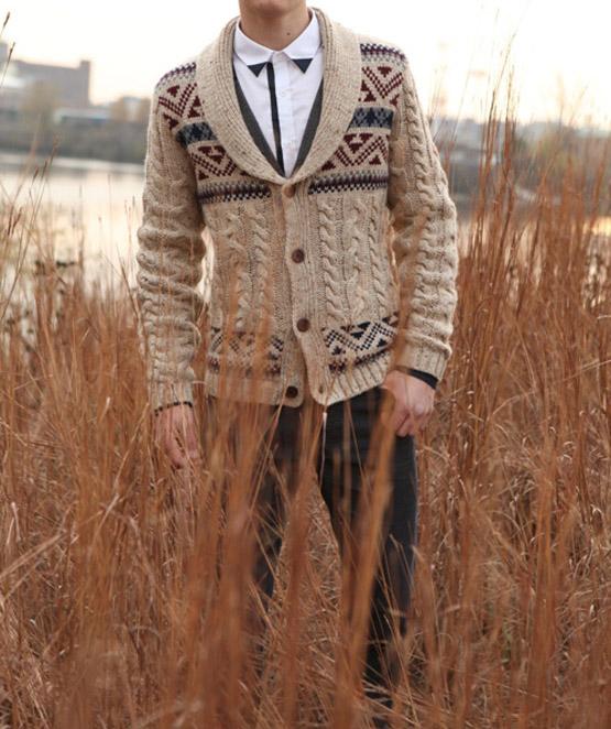 cardigan & colored shirt collar tips