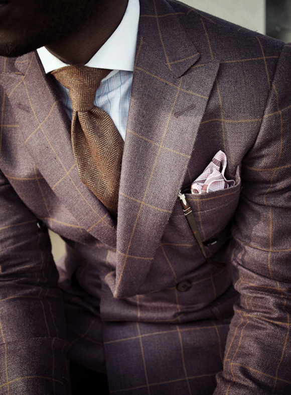 Shades of Brown, windowpane suit & herringbone tie | SOLETOPIA