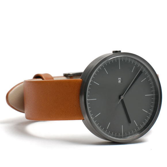 Simple watch, Uniform Wares 200 Series gray face with tan strap