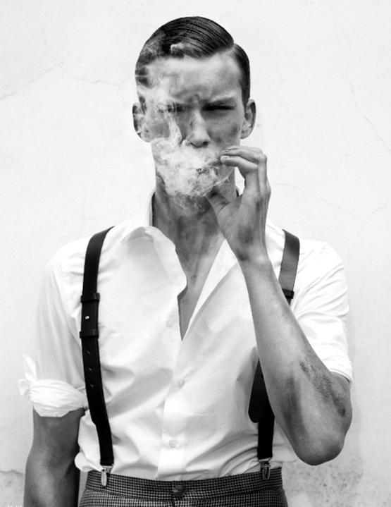 Slick haircut & suspenders SWAG while smoking | SOLETOPIA
