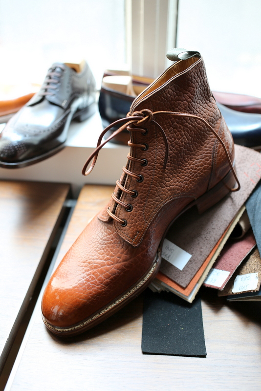 Saint Crispin's textured leather to smooth toe cap transition lace up boots