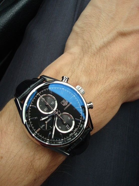 Tag Heurer Carrera chronograph watch, black face + black leather strap