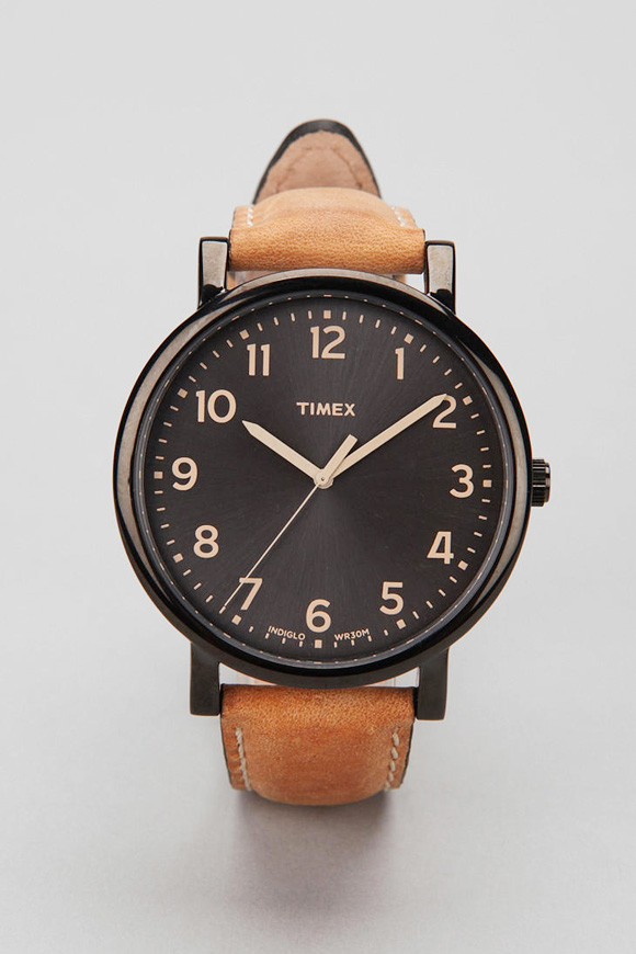 TIMEX's classiest Easy Reader watch, brown leather strap ...