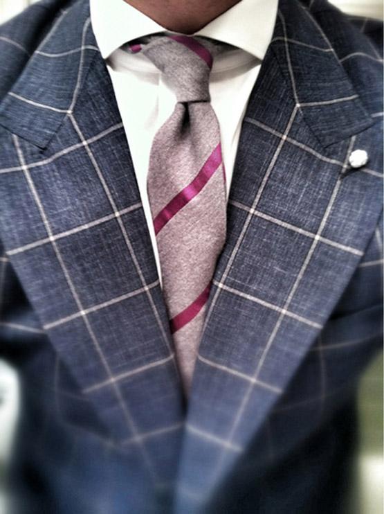 windowpane pattern suit spread collar amp stripe tie