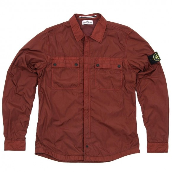 Bordeaux Stone Island Garment Dyed Resin Shirt Jacket