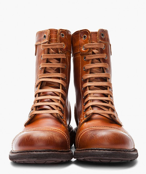 DIESEL Scuffed Leather Cassidy Combat Boots in Tan