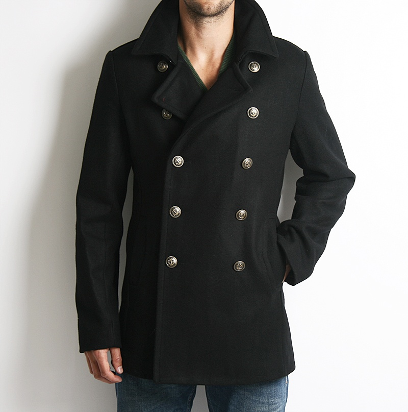 Fitted Blazer-Style Pea Coat with Nautical Buttons, Dr. Denim ...
