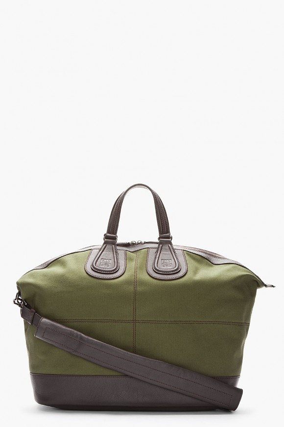Givenchy Army Green Leather Trimmed Nightingale Duffle Bag