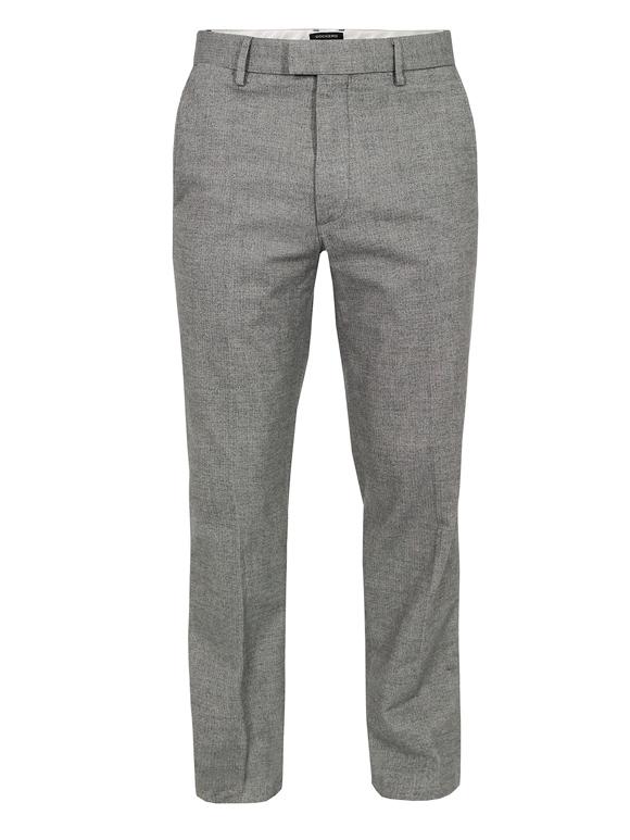 Grey herringbone dress pants, slim fit & tapered cut | SOLETOPIA