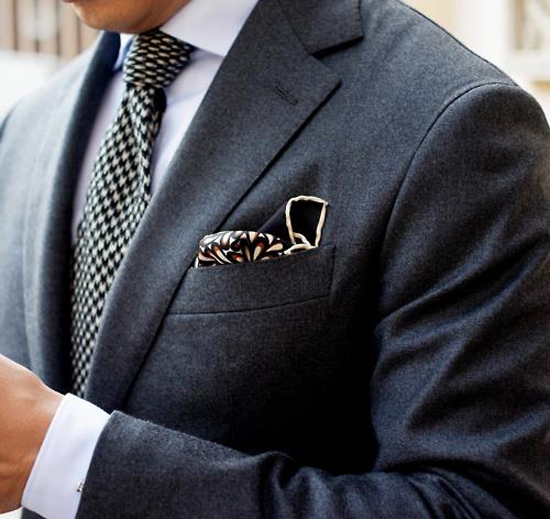 Houndstooth Tie, Navy Wool Suit dark pocket square