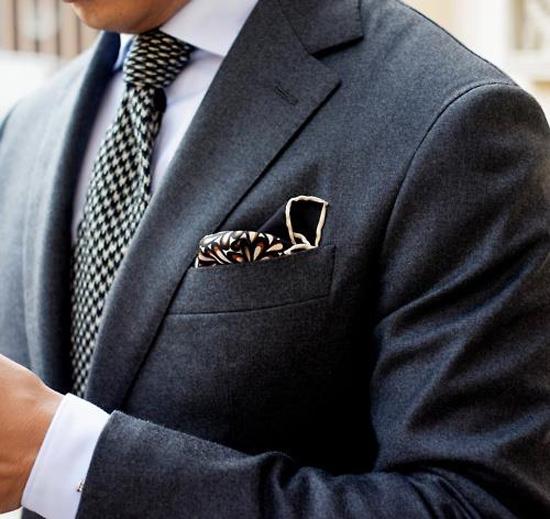 Houndstooth Tie, Navy Wool Suit dark pocket square