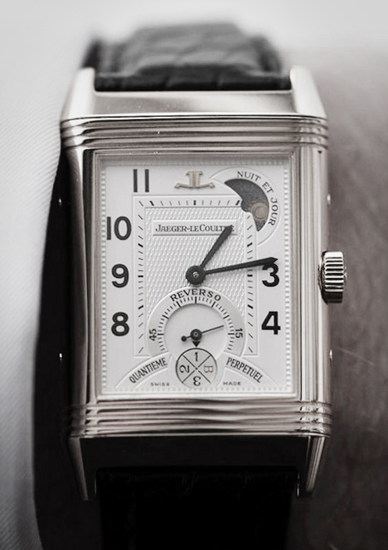 Jaeger-LeCoultre 'Reverso' Square Face Leather Strap Watch