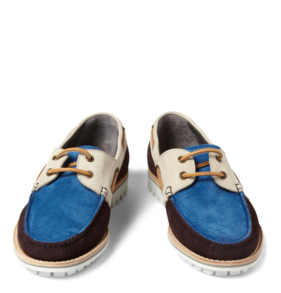 LANVIN Multicolored 2-eye Boat Shoe in Suede with Contrast Soles in white