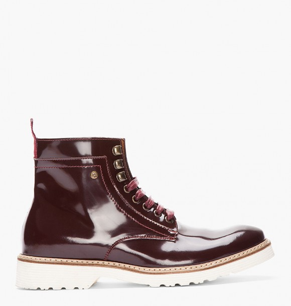 McQ by Alexander McQueen Burgundy patent leather white sole boots