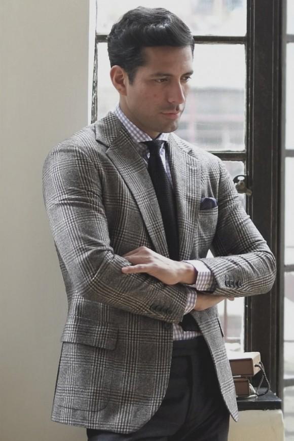 Knit Tie, Glen Plaid