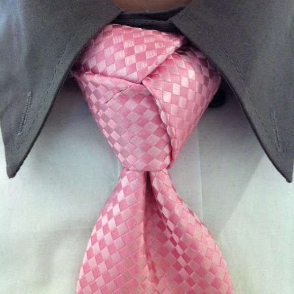 pink-silk-checked-tie-trinity-knot-complex-unique-necktie-knot