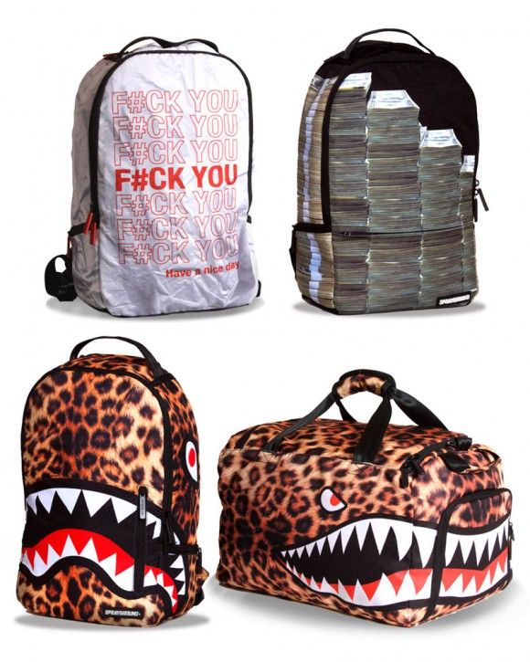 Sprayground 'Holidaze Bag Collection' leopard print, bag full of money & fuck you have a nice day backpack