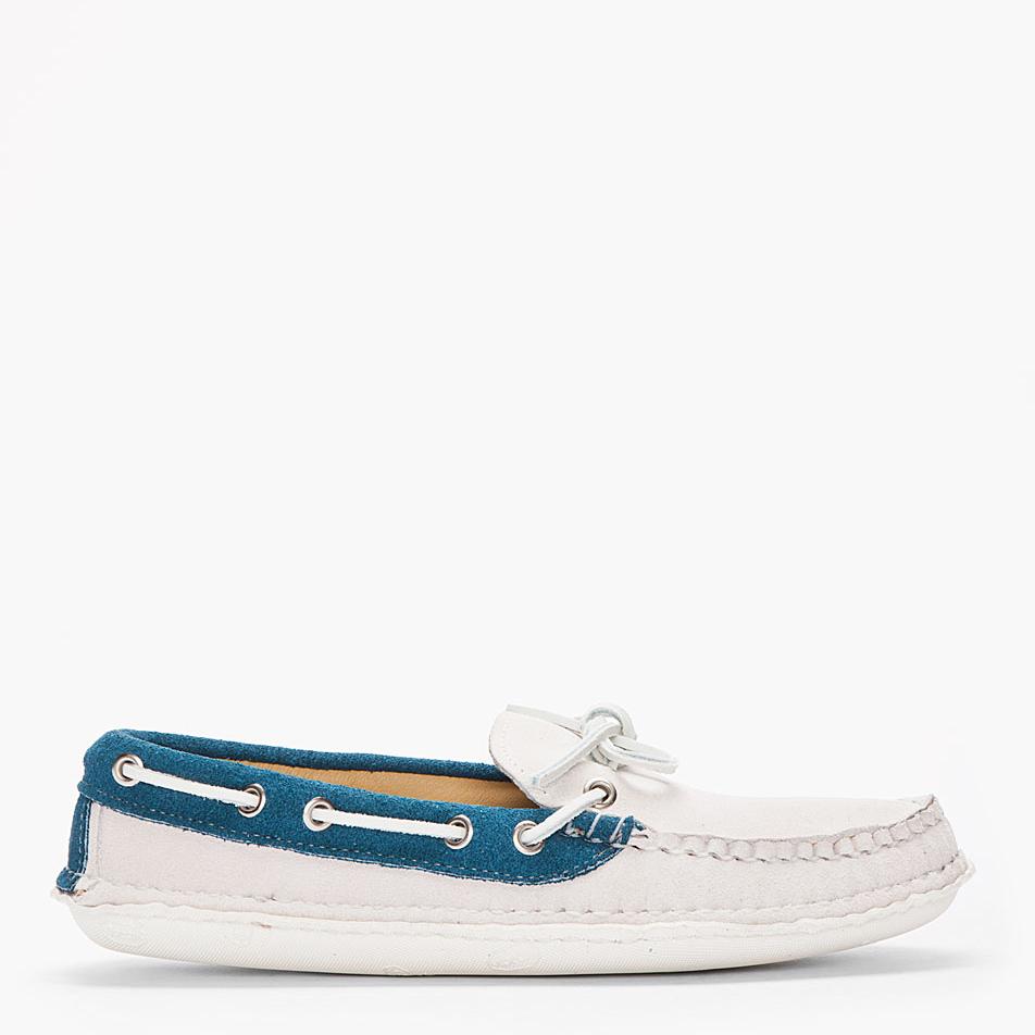 two-toned moc toe boat shoe