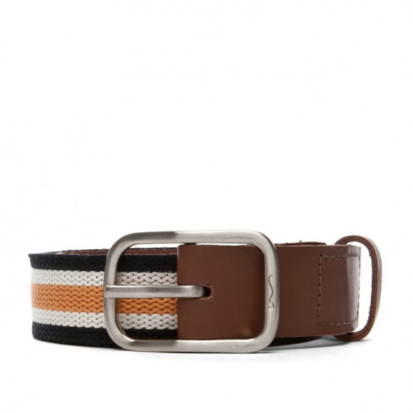 Woven/leahter mix belt